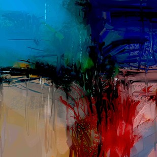 Blue Abstract - 27 by The Print Studio, Abstract Painting, Digital Print on Canvas, Brown color
