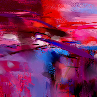 Red Pink Abstract Digital Print by The Print Studio,Abstract