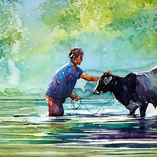 MORNING BATH by Raji Pavithran, Impressionism Painting, Watercolor on Paper, Green color