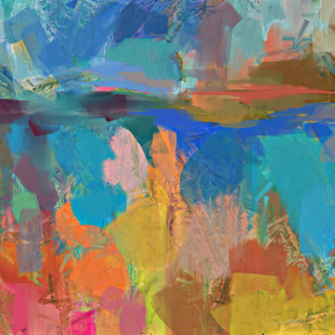 Faded Blue Yellow by The Print Studio, Abstract Painting, Digital Print on Canvas, Brown color