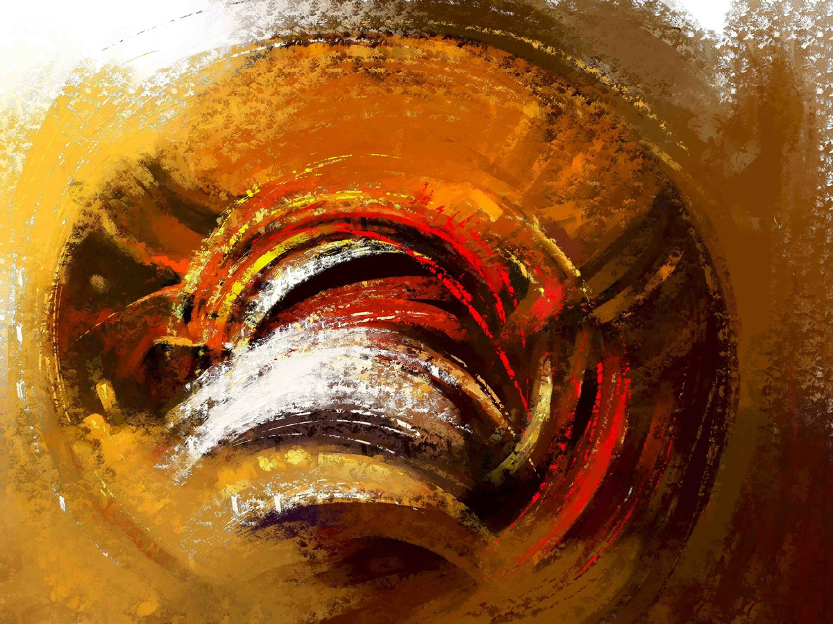 Golden Brown Swrill Digital Print by The Print Studio,Abstract