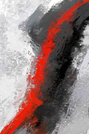 The Red Stroke Digital Print by The Print Studio,Abstract