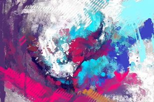 Vibrant Blue Pink Digital Print by The Print Studio,Abstract