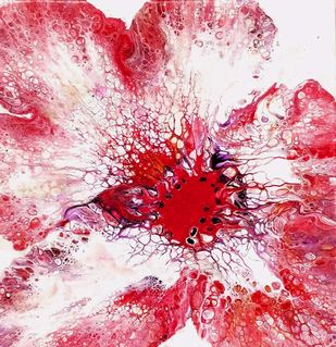 BLOOM 15 by kakali sanyal, Abstract Painting, Acrylic on Canvas, Pink color