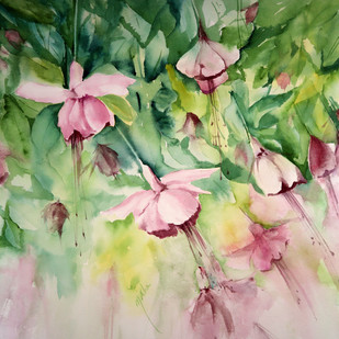 Fuschia by Nisha Sehjpal, Impressionism Painting, Watercolor on Paper, Beige color