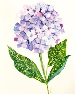 Hydrangea by Nisha Sehjpal, Impressionism Painting, Watercolor on Paper, Beige color