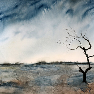 The Long Wait by Nisha Sehjpal, Impressionism Painting, Watercolor on Paper, Gray color