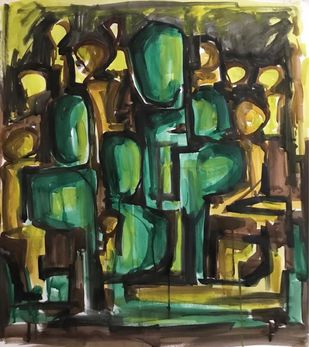 Cluster by Simran Sidhu, Abstract Painting, Watercolor and charcoal on paper, Green color