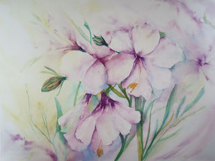 Lilies by Nisha Sehjpal, Impressionism Painting, Watercolor on Paper, Gray color