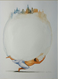 Bubble of Believes by Sunil Lohar, Expressionism Painting, Watercolor on Paper, Gray color