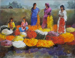 Flower Market by Arpita Dasgupta, Expressionism Painting, Acrylic on Canvas, Brown color