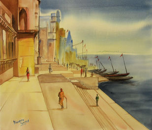 Banaras by praveen verma, Impressionism Painting, Water Based Medium on Paper, Beige color
