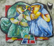 play by Uttam Manna, Expressionism Painting, Acrylic on Canvas, Green color