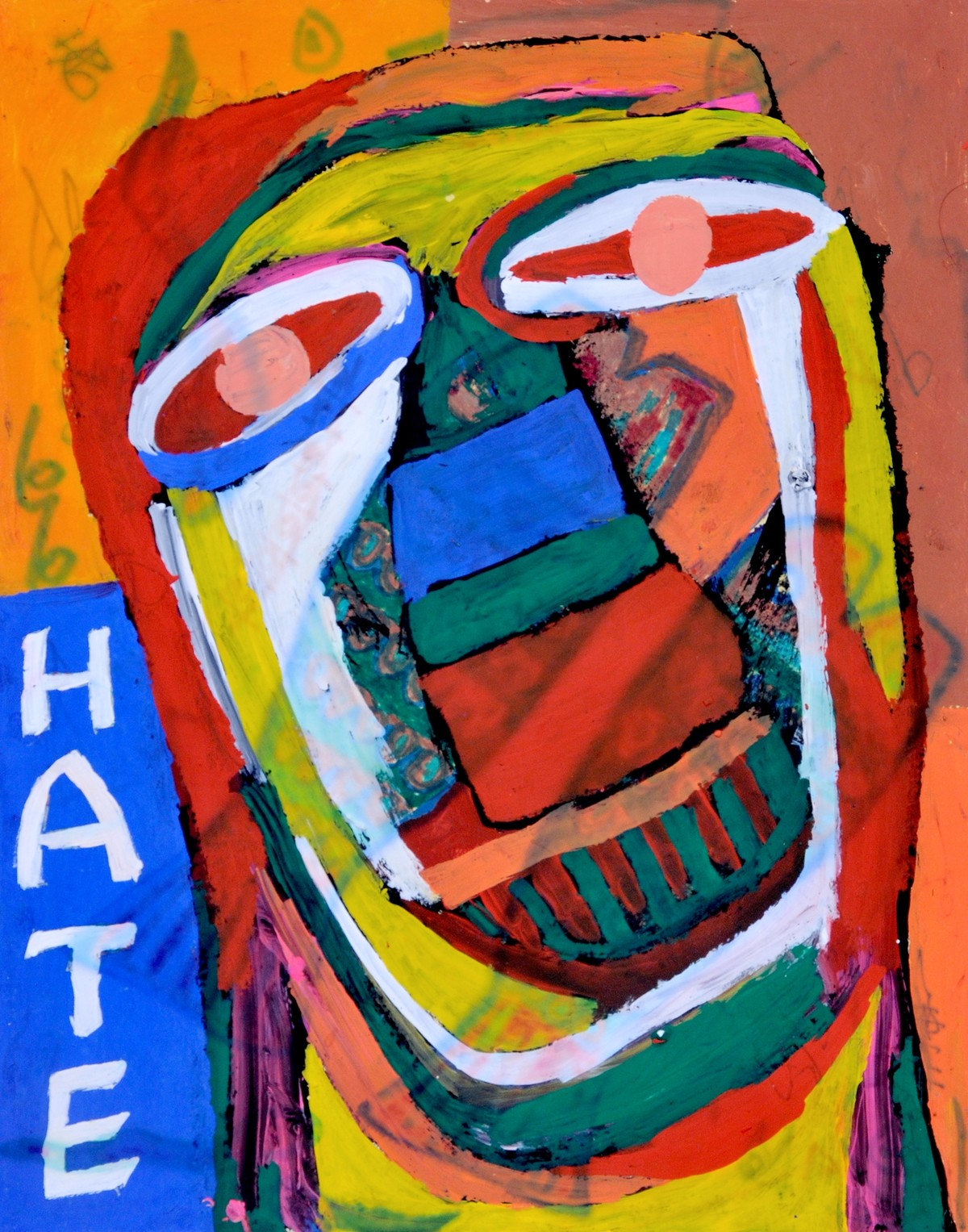 Self-portrait by Manoj Kumar Negi, Expressionism Painting, Mixed Media on Paper, Brown color