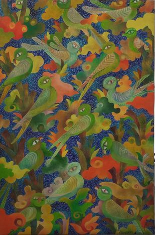 Gossip by Chaitali Chatterjee, Decorative Painting, Oil on Canvas, Green color