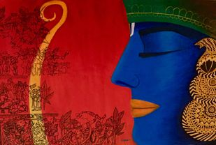 Contemporary Lord Ram with bow Digital Print by Kangana Vohra ,Decorative