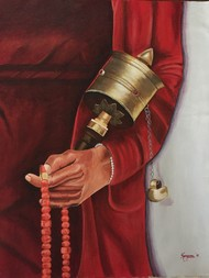 Buddha with prayer wheel by Kangana Vohra , Expressionism Painting, Acrylic on Canvas, Brown color