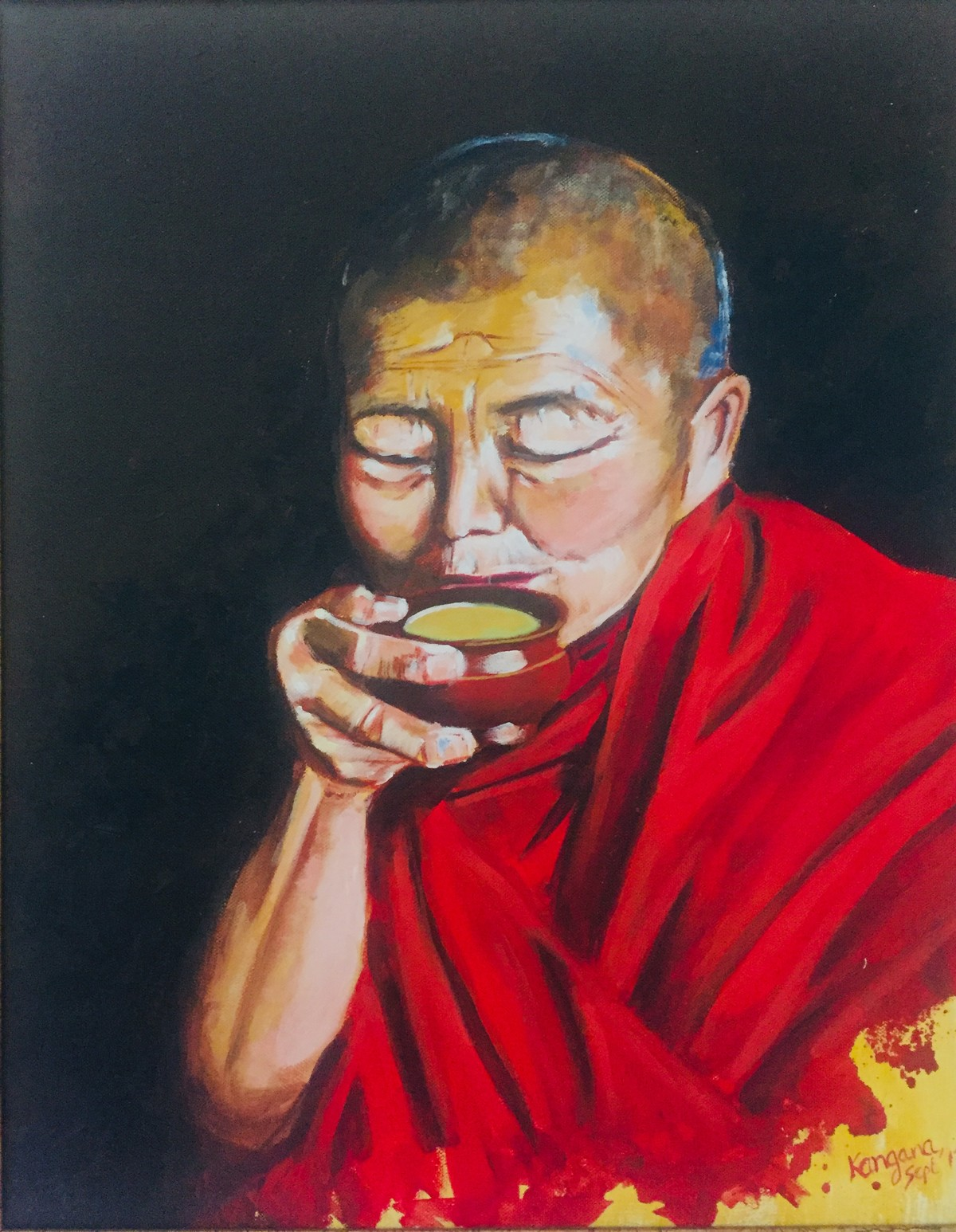 Buddhist monk sipping tea by Kangana Vohra , Expressionism Painting, Acrylic on Canvas, Blue color