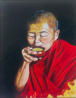 Buddha's elixir by Kangana Vohra , Expressionism Painting, Acrylic on Canvas, Blue color