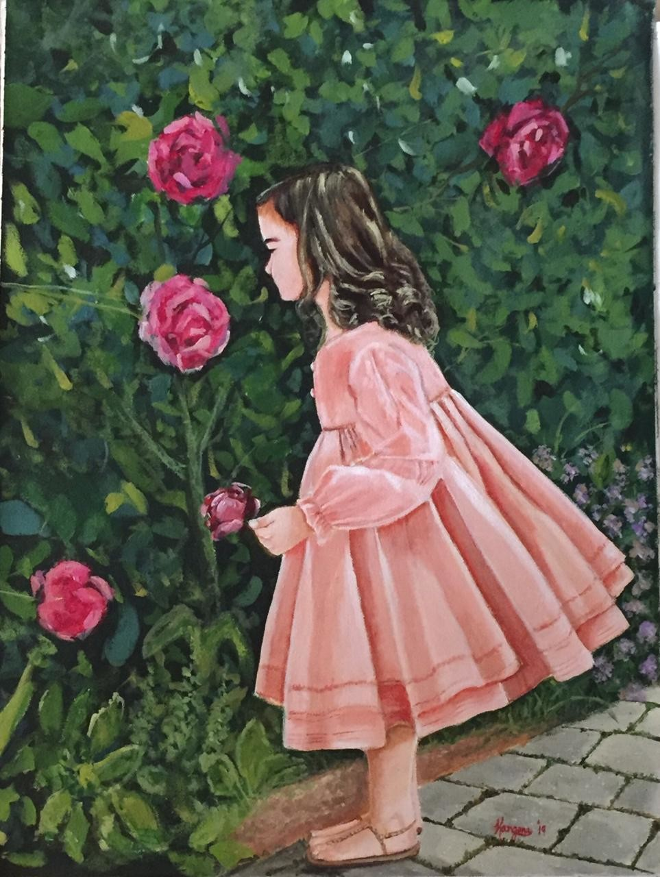 Girl in flower garden by Kangana Vohra , Expressionism Painting, Acrylic on Canvas, Green color