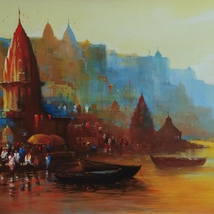 OM SHANTI Banaras Ghat by Ashif Hossain , Impressionism Painting, Acrylic on Canvas, Brown color
