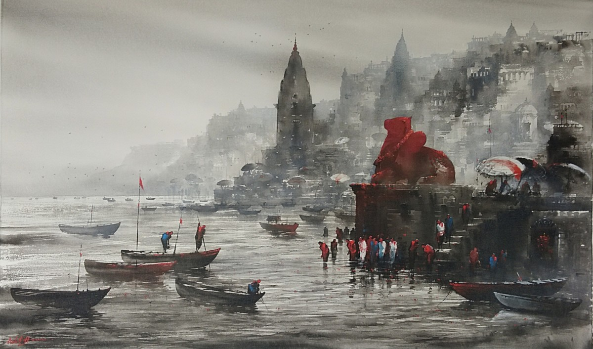 Banaras Ghat by Ashif Hossain , Impressionism Painting, Acrylic on Canvas, Gray color