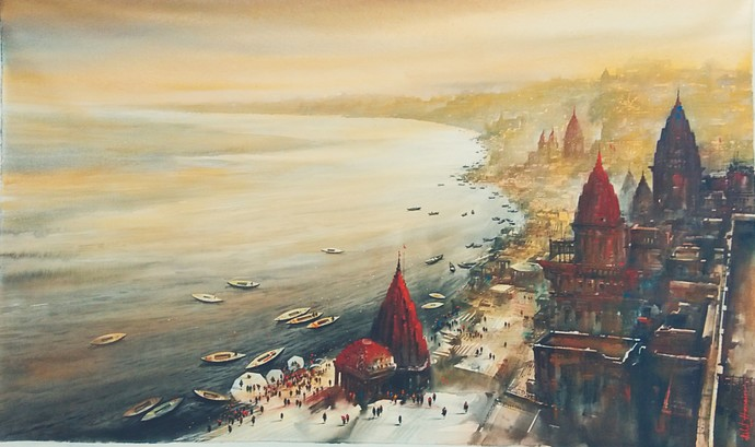 Banaras by Ashif Hossain , Impressionism Painting, Acrylic on Canvas, Beige color