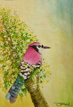 Jay Bird by Deshbandhu Jadli, Impressionism Painting, Watercolor on Paper, Beige color