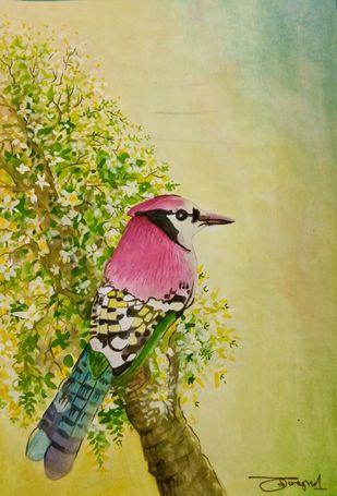 Jay Bird by Deshbandhu Jadli, Impressionism Painting, Watercolor on Paper, Beige color