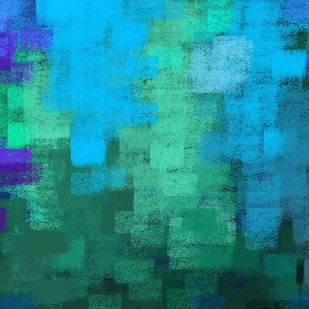 Turquoise blue Digital Print by The Print Studio,Abstract