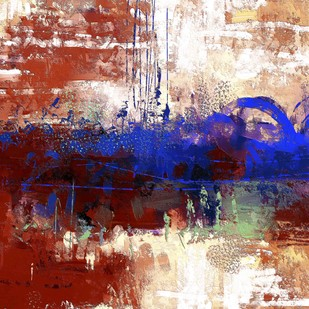 Maroon and blue Digital Print by The Print Studio,Abstract