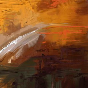 orange brown Digital Print by The Print Studio,Abstract