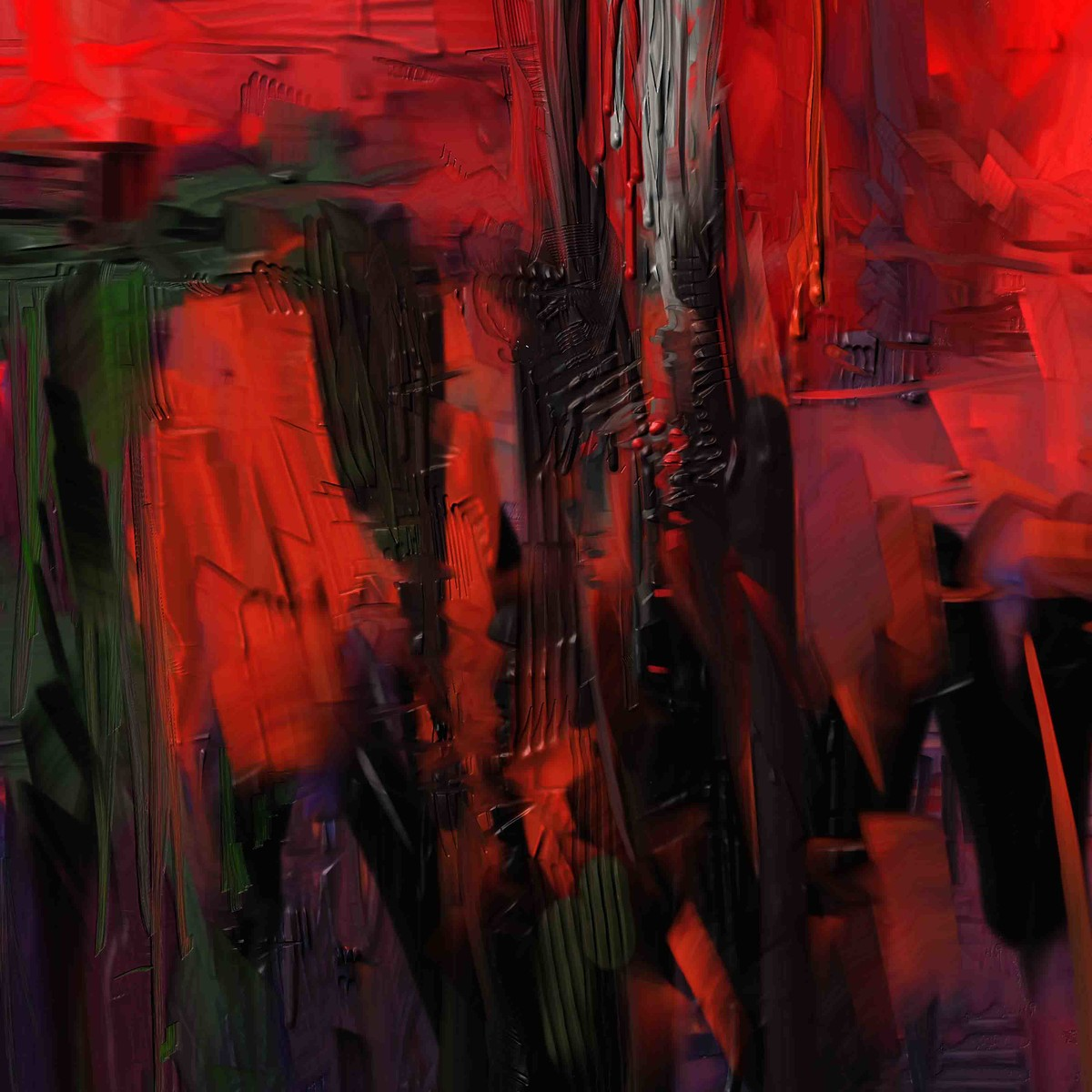 Black Red Digital Print by The Print Studio,Abstract