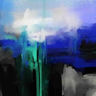 Blue Black Digital Print by The Print Studio,Abstract