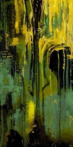 Yellow Green Digital Print by The Print Studio,Abstract