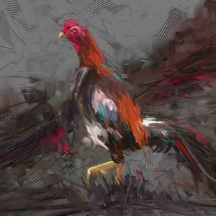 Rooster - 01 Digital Print by The Print Studio,Digital