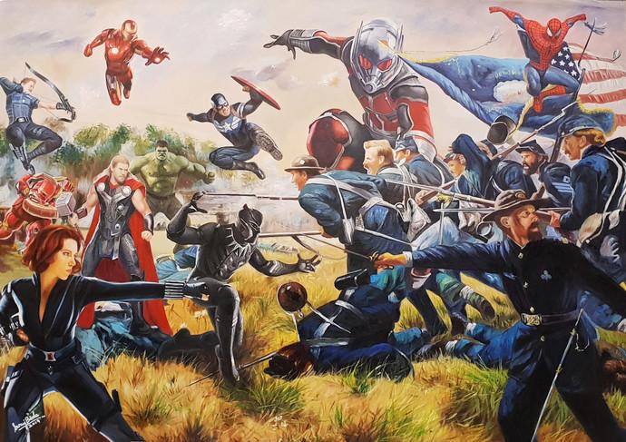 Avengers civil war by Sanuj Birla, Pop Art Painting, Oil on Canvas, Brown color