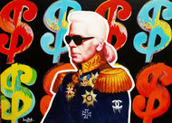 karl got my money by Sanuj Birla, Pop Art Painting, Oil on Canvas, Brown color