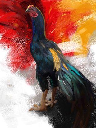 Rooster - 17 Digital Print by The Print Studio,Digital