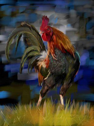Rooster - 23 Digital Print by The Print Studio,Digital