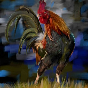 Rooster - 23 by The Print Studio, Digital Painting, Digital Print on Canvas, Blue color