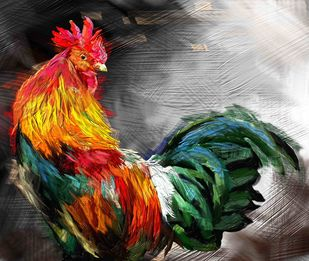 Rooster - 25 Digital Print by The Print Studio,Expressionism