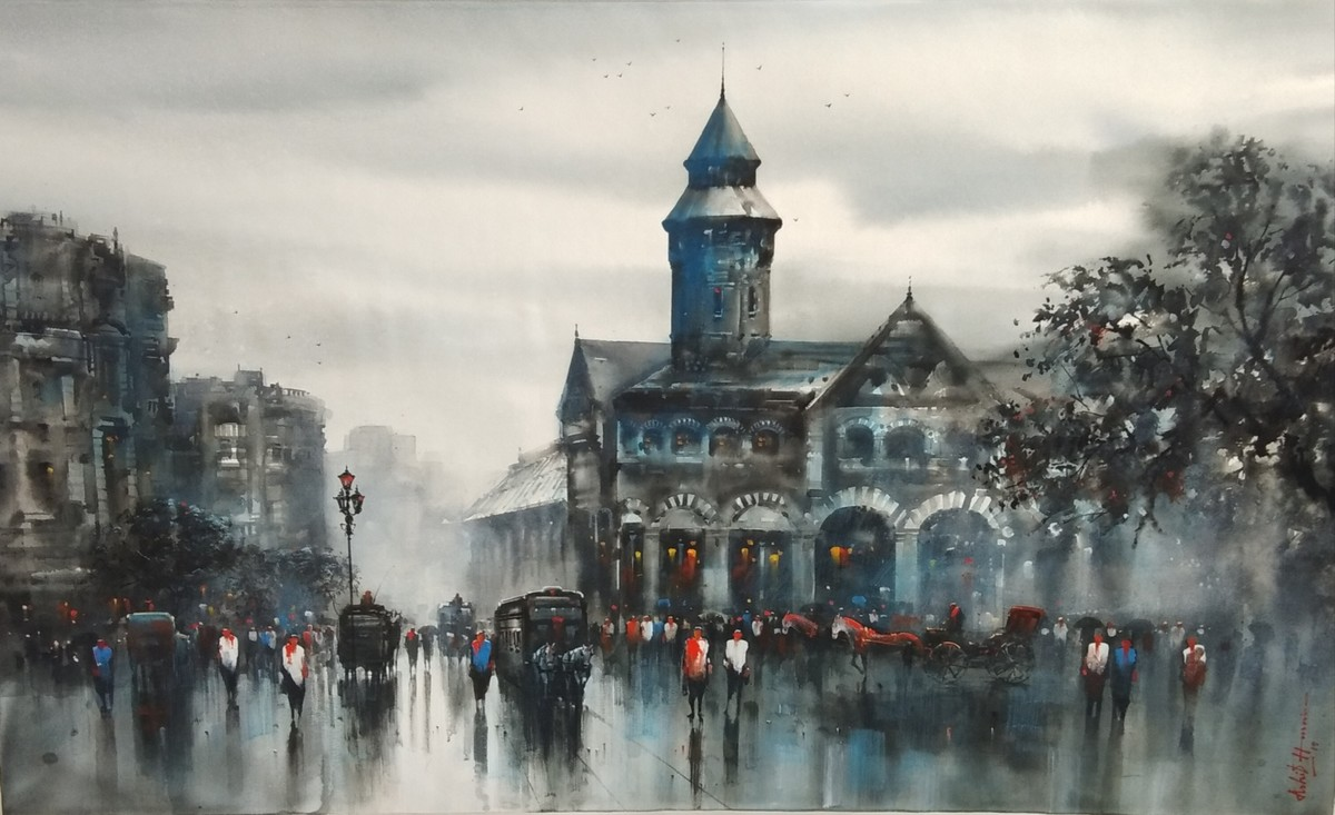 OLD BOMBAY by Ashif Hossain , Impressionism Painting, Acrylic on Canvas, Gray color