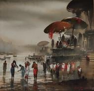 Banaras Ghat by Ashif Hossain , Impressionism Painting, Acrylic on Canvas, Brown color