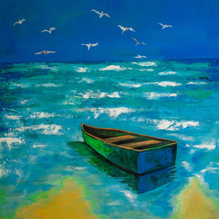 time for peace by Manuela Gomes, Expressionism Painting, Acrylic on Canvas, Blue color