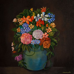 Flower pot Study by Manuela Gomes, Expressionism Painting, Acrylic on Canvas, Blue color