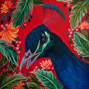 Spring and peacocks by Manuela Gomes, Expressionism Painting, Acrylic on Canvas, Brown color