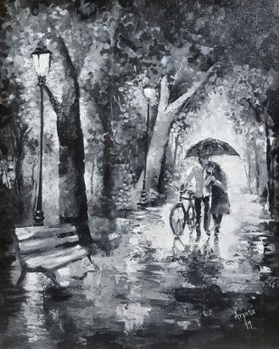 Walk in rain by Arpita, Expressionism Painting, Acrylic on Canvas, Gray color