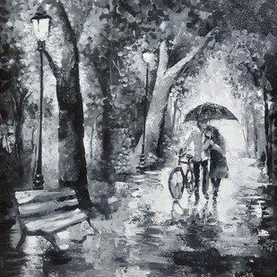 Walk in rain by Arpita Dasgupta, Expressionism Painting, Acrylic on Canvas, Gray color