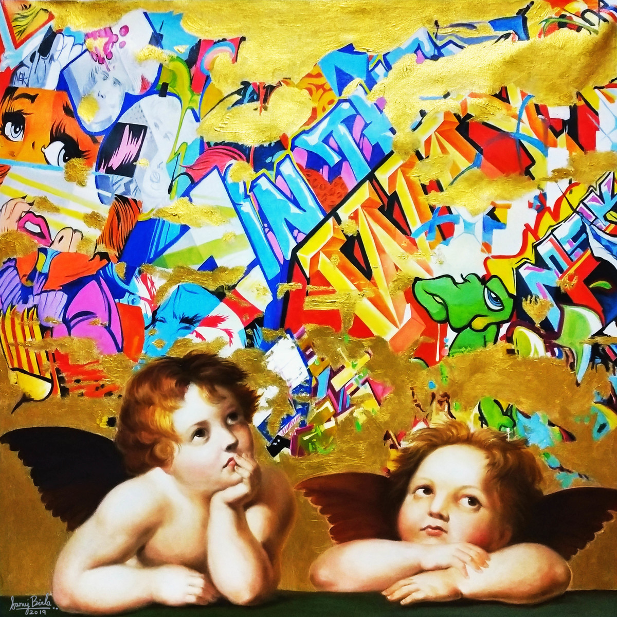angels watching by Sanuj Birla, Expressionism Painting, Oil on Canvas, Brown color